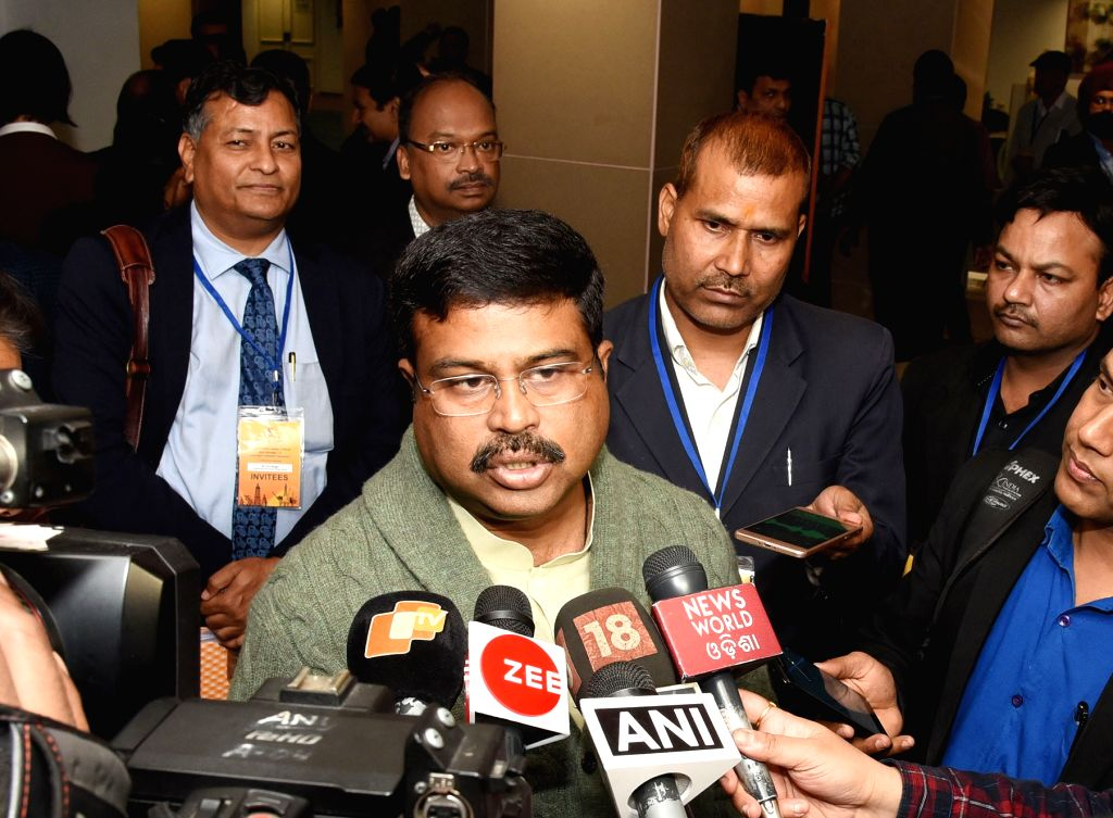 Union Petroleum and Natural Gas and Skill Development and Entrepreneurship Minister Dharmendra Pradhan talks to media person after the contract signing ceremony of Discovered Small Field ... - Dharmendra Pradhan