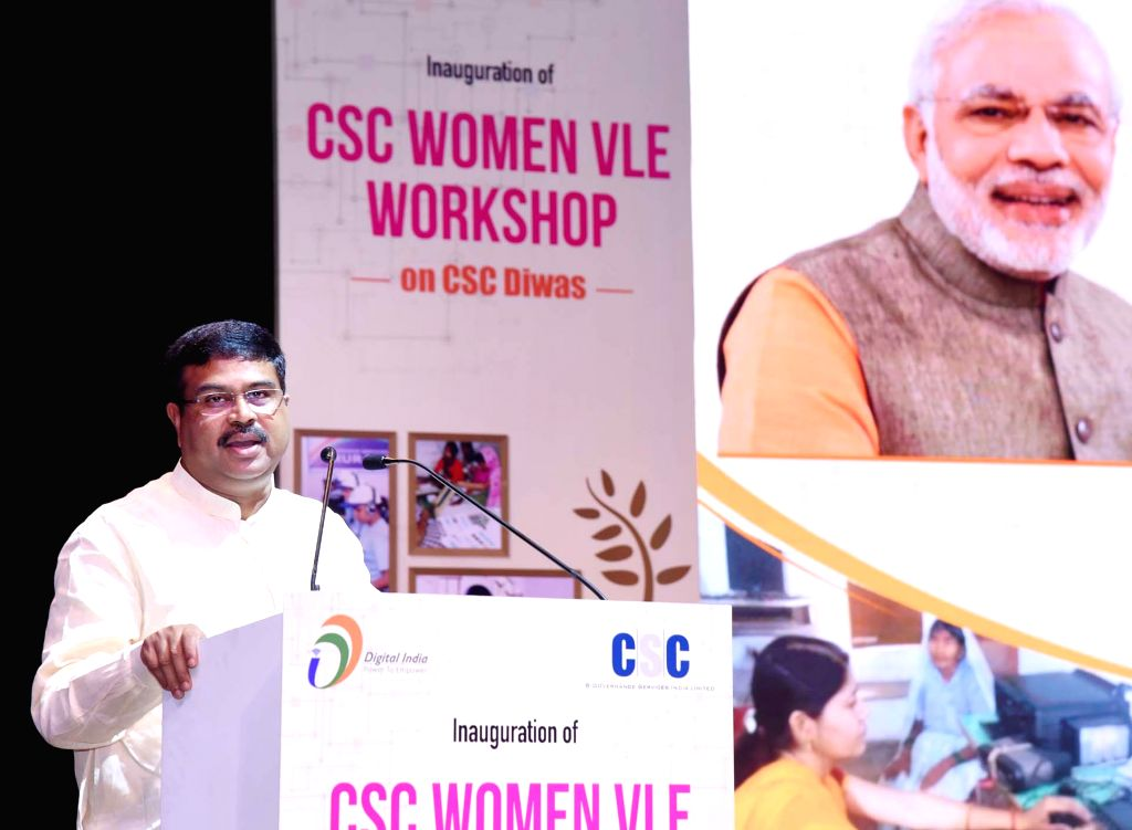 Union Petroleum and Natural Gas and Steel Minister Dharmendra Pradhan addresses at the inauguration of Common Service Centers (CSC) Women Village Level Entrepreneurs (VLE) Workshop ... - Dharmendra Pradhan
