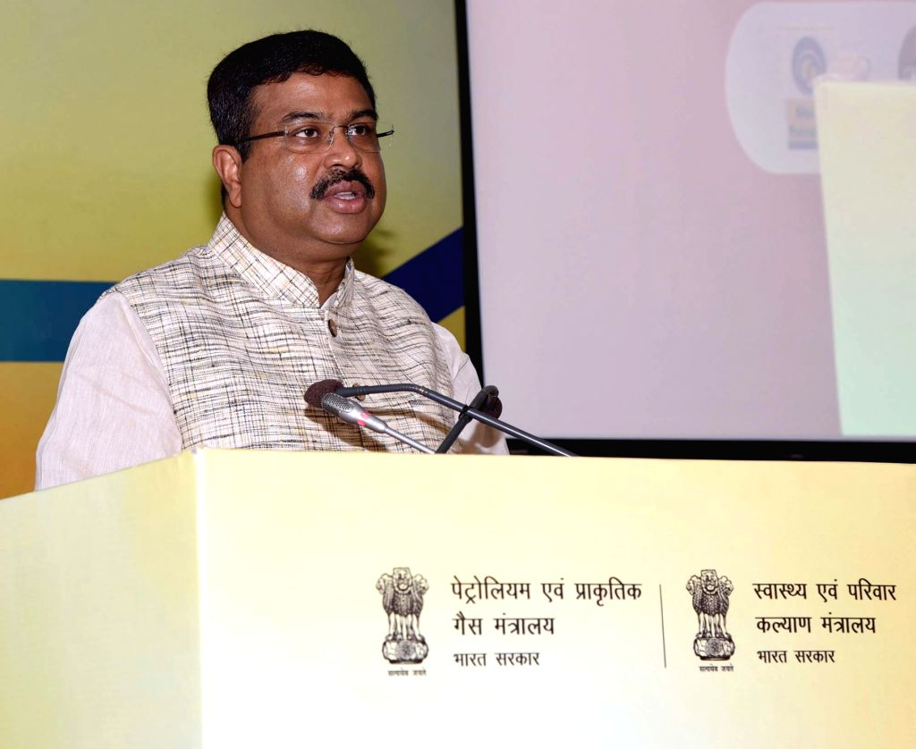 Union Petroleum and Natural Gas and Steel Minister Dharmendra Pradhan addresses at the inauguration of the ???World Biofuel Day???, in New Delhi on Aug 10, 2019. - Dharmendra Pradhan