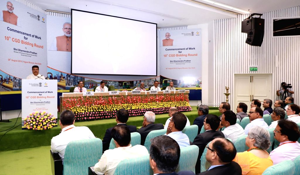 Union Petroleum and Natural Gas and Steel Minister Dharmendra Pradhan addresses at the Commencement of work for 10th CGD Bidding Round, in New Delhi on Aug 26, 2019. - Dharmendra Pradhan