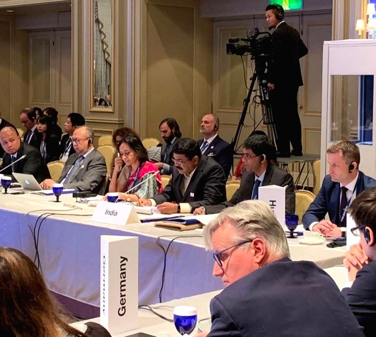 Union Petroleum and Natural Gas and Steel Minister Dharmendra Pradhan addresses the Ministerial Meeting of Global Forum on Steel Excess Capacity in Tokyo, Japan in Oct 26, 2019. - Dharmendra Pradhan