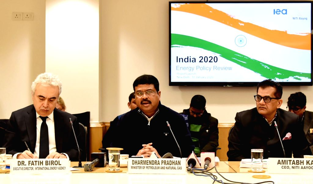 "Union Petroleum and Natural Gas and Steel Minister Dharmendra Pradhan addresses at the launch of the ""IEA In-depth Review of India???s Energy Policies"", in New Delhi on Jan 10, ... - Dharmendra Pradhan"