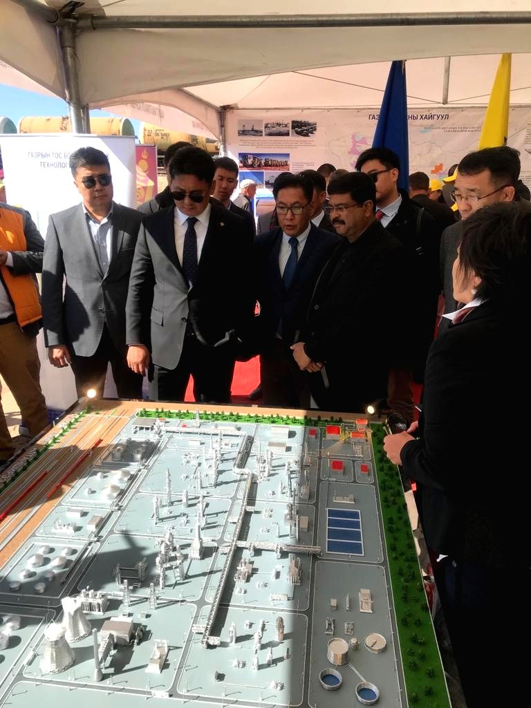Union Petroleum and Natural Gas Minister Dharmendra Pradhan during the opening ceremony of the infrastructure that Mongolia has constructed for the Indian funded Mongol Refinery Project, ... - Dharmendra Pradhan