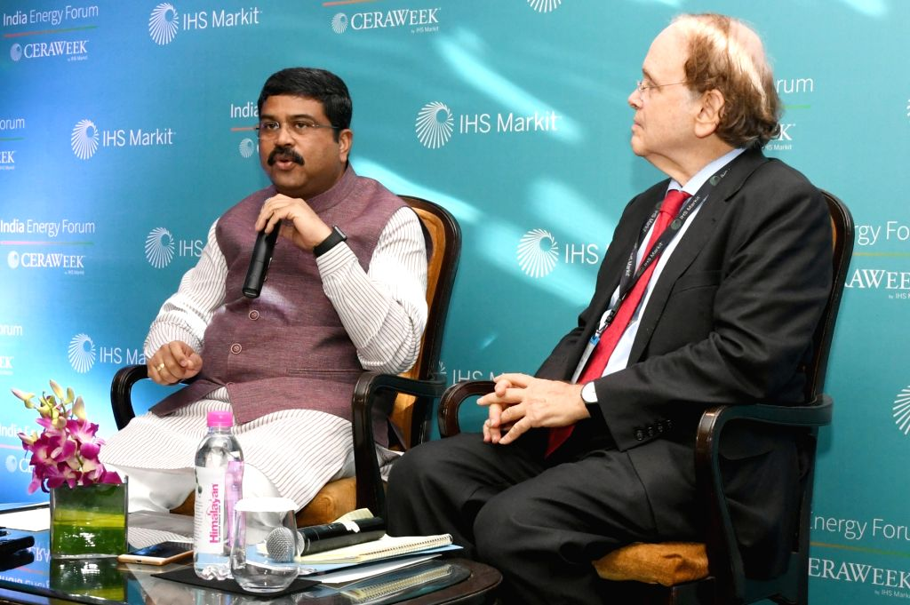 Union Petroleum Minister Dharmendra Pradhan briefs the media  during an India Energy Forum programme in New Delhi on Oct 10, 2017. - Dharmendra Pradhan