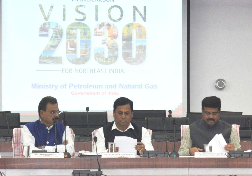Union Petroleum Minister Dharmendra Pradhan, Assam Chief Minister Sarbananda Sonowal and Assam Industry Minister Chandra Mohan Patowary during Vision 2030 in Guwahati on June 24, 2016. - Dharmendra Pradhan