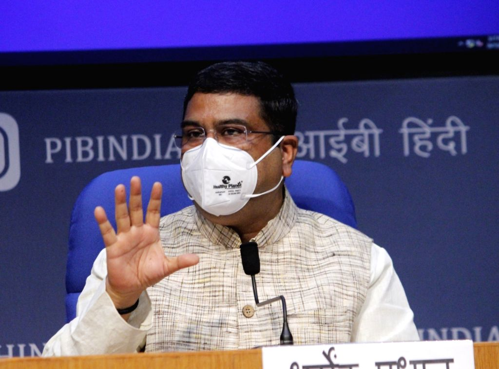 Union Petroleum & Natural Gas and Steel Minister Dharmendra Pradhan briefs the media on various cabinet decisions, in New Delhi on Oct 7, 2020. - Dharmendra Pradhan