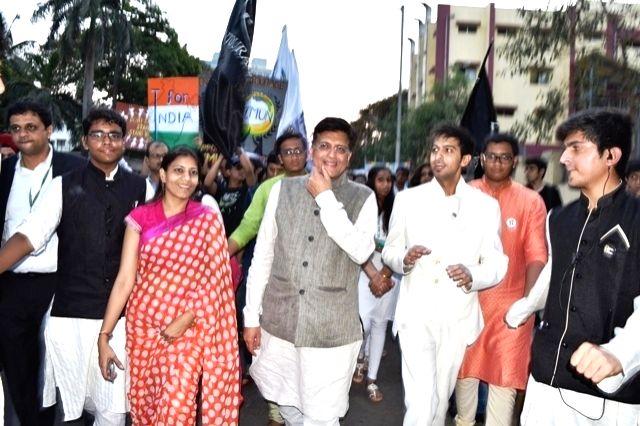 Union Power Minister Piyush Goel during inauguration of  world's largest MUN Youth Conference at NSCI Stadium in Mumbai on April 10, 2016. - Piyush Goel