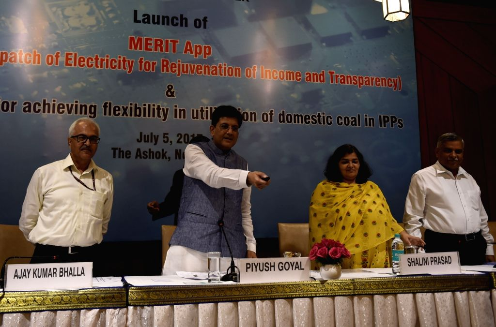 Union Power Minister Piyush Goyal addresses during launch of 'MERIT' (Merit Order Despatch of Electricity for Rejuvenation of Income and Transparency) App in Mumbai, on July 5, 2017. - Piyush Goyal