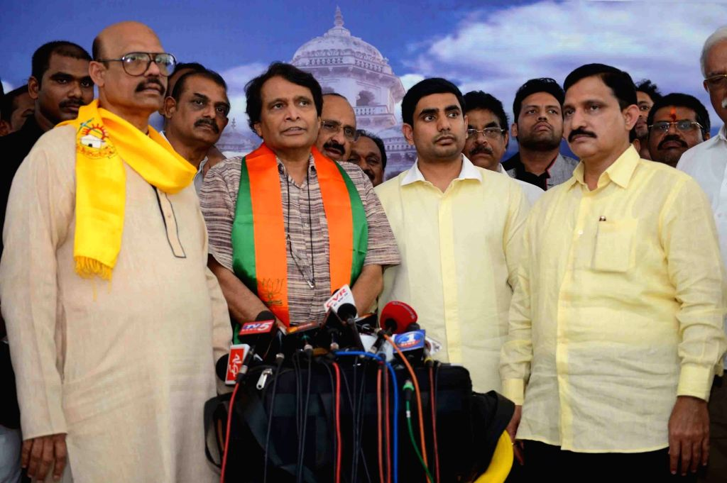 Union Railway Minister and BJP leader Suresh Pranhakar Prabhu talks to press in Hyderabad on May 25, 2016.