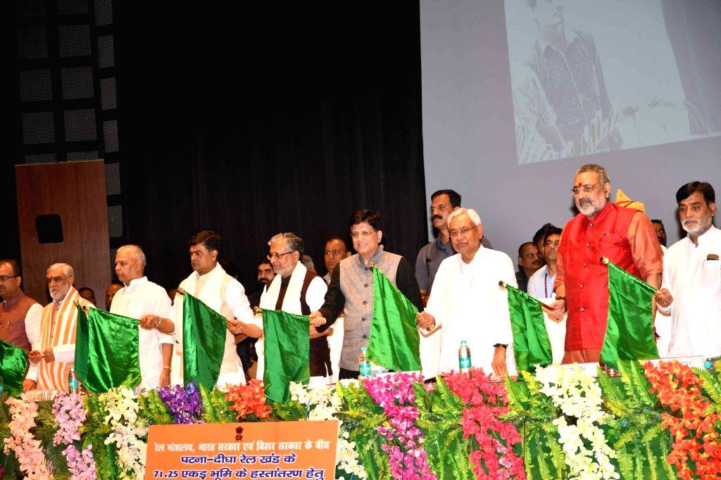 Union Railway Minister Piyush Goyal, Bihar Chief Minster Nitish Kumar, Deputy Chief Minister Sushil Kumar Modi and Union Ministers RK Singh, Ashwini Choubey, Giriraj Singh and Ram Kripal Yadav ... - Piyush Goyal, Sushil Kumar Modi, Giriraj Singh and Kripal Yadav