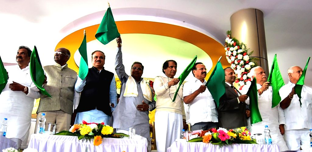 Union Railway Minister Suresh Prabhu during a programme organsied to lay the foundation stone for new coaching terminal at Baiyyappanahalli and other railway projects in Bengaluru, on Jan ... - Suresh Prabhu and Ananth Kumar