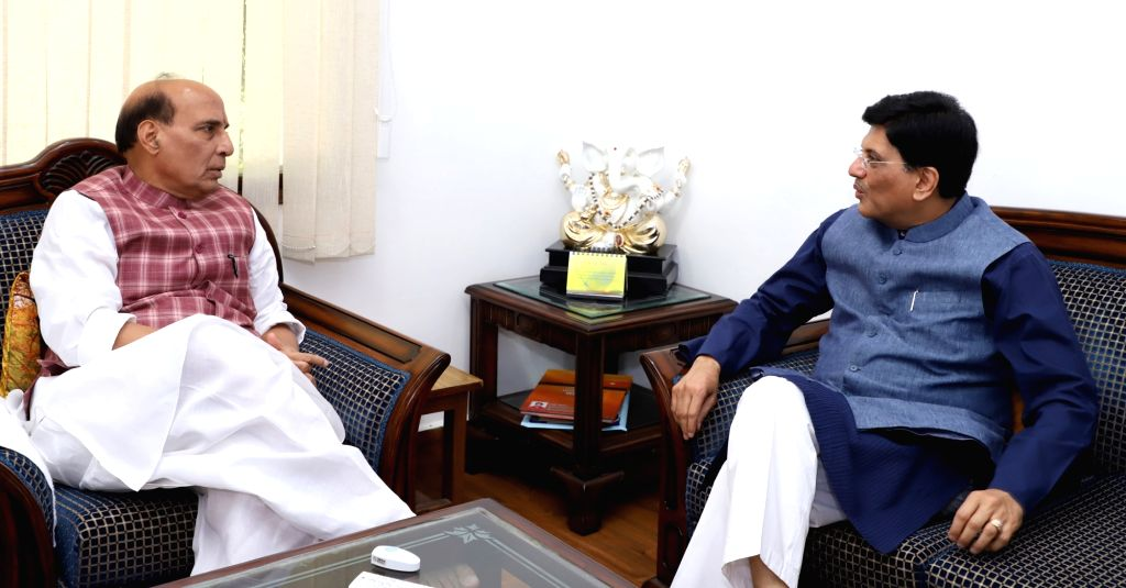 Union Railways and Coal Minister Piyush Goyal calls on Union Home Minister Rajnath Singh in New Delhi on Sept 18, 2017. - Piyush Goyal and Rajnath Singh