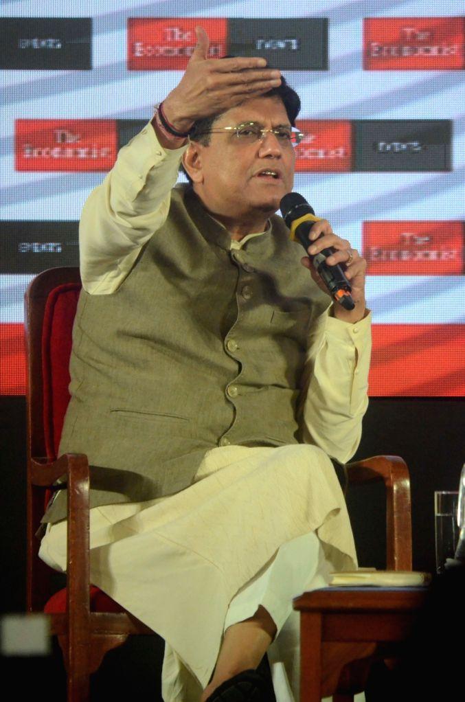 Union Railways and Coal Minister Piyush Goyal addresses at 'The Economist India Summit 2018', in Mumbai on Oct 25, 2018. - Piyush Goyal