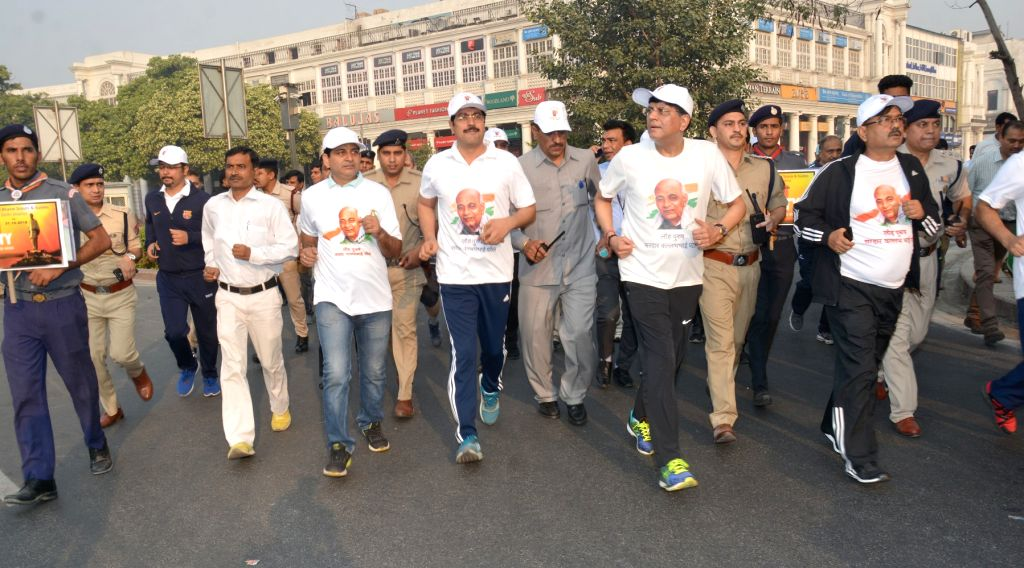 Union Railways and Coal Minister Piyush Goyal participates in 'Run For Unity' organised on the occasion of 'Rashtriya Ekta Diwas' - birth anniversary of the country's first Home Minister ... - Piyush Goyal and Sardar Vallabhbhai Patel