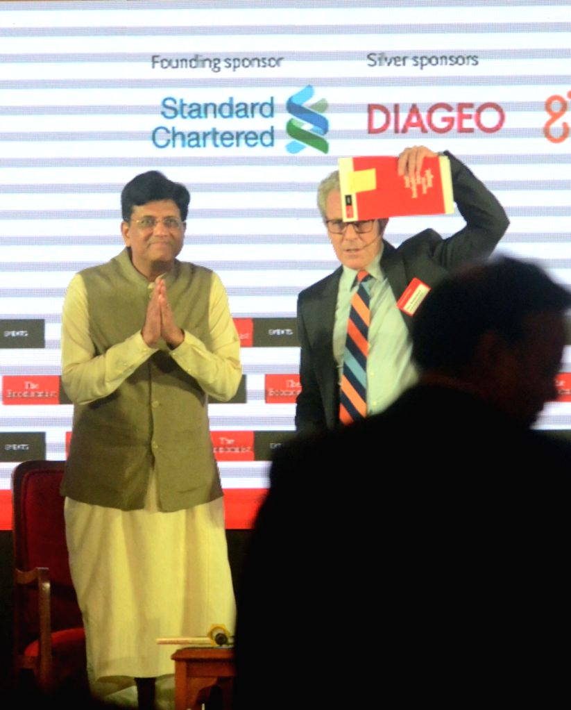 Union Railways and Coal Minister Piyush Goyal and American journalist Max Rodenbeck at 'The Economist India Summit 2018', in Mumbai on Oct 25, 2018. - Piyush Goyal