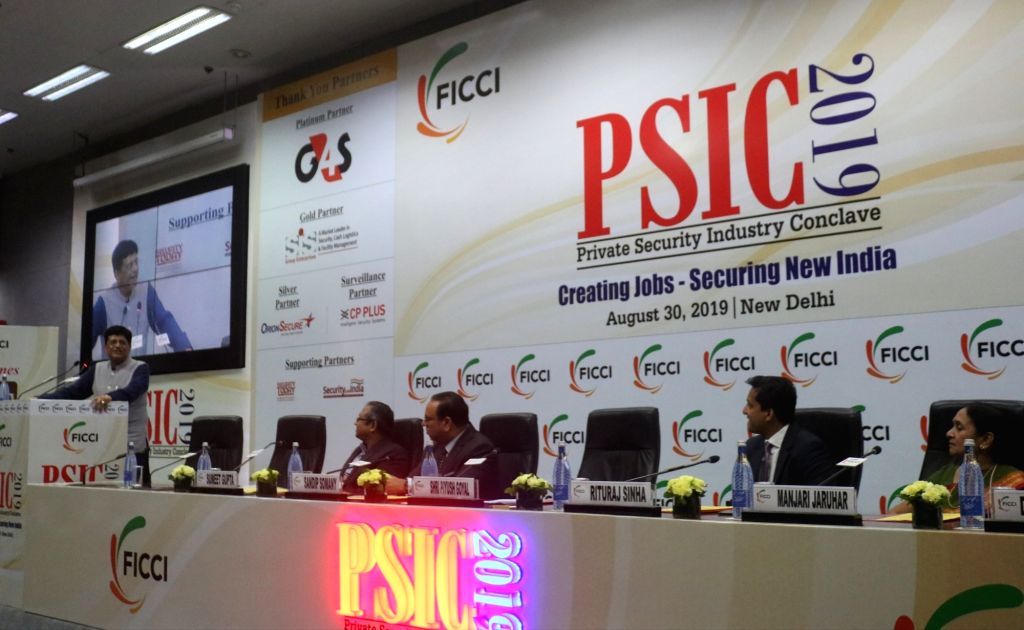 Union Railways and Commerce Minister Piyush Goyal addresses at the Private Security Industry Conclave (PSIC) 2019 in New Delhi, on Aug 30, 2019. - Piyush Goyal