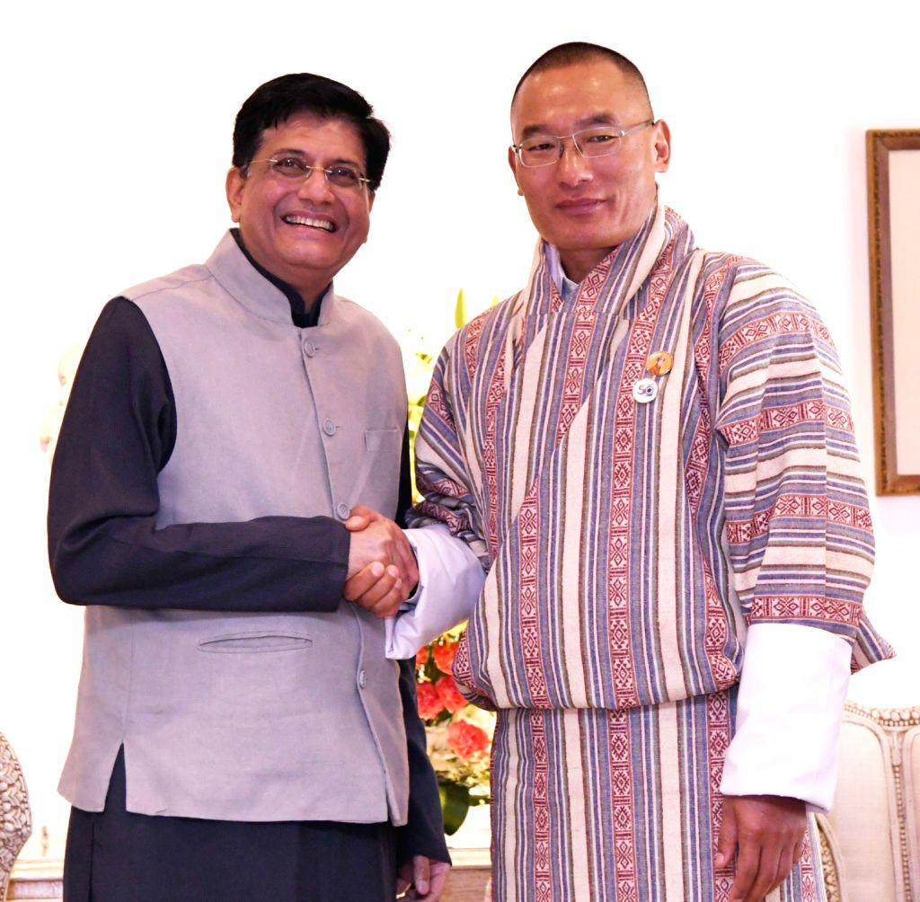 Union Railways, Coal, Finance and Corporate Affairs Minister Piyush Goyal calls on Bhutan Prime Minister Tshering Tobgay, in New Delhi on July 7, 2018. - Piyush Goyal