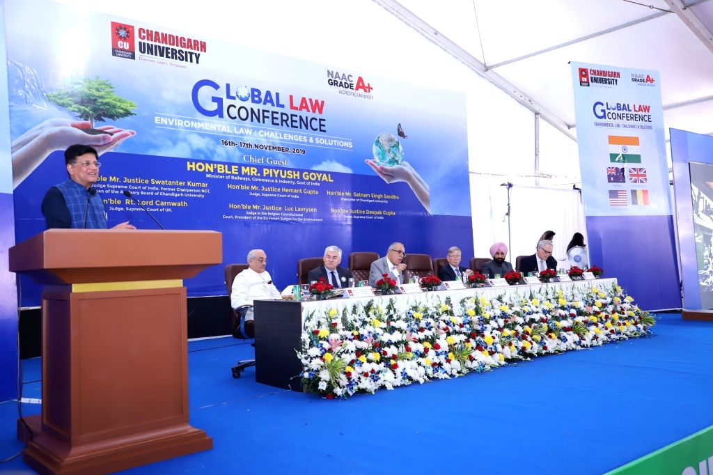 "Union Railways, Commerce and Industry Minister Piyush Goyal addresses at the inaugural session of the two-day Global Law Conference on ""Environmental Laws: Challenges and Solutions"" ... - Piyush Goyal"