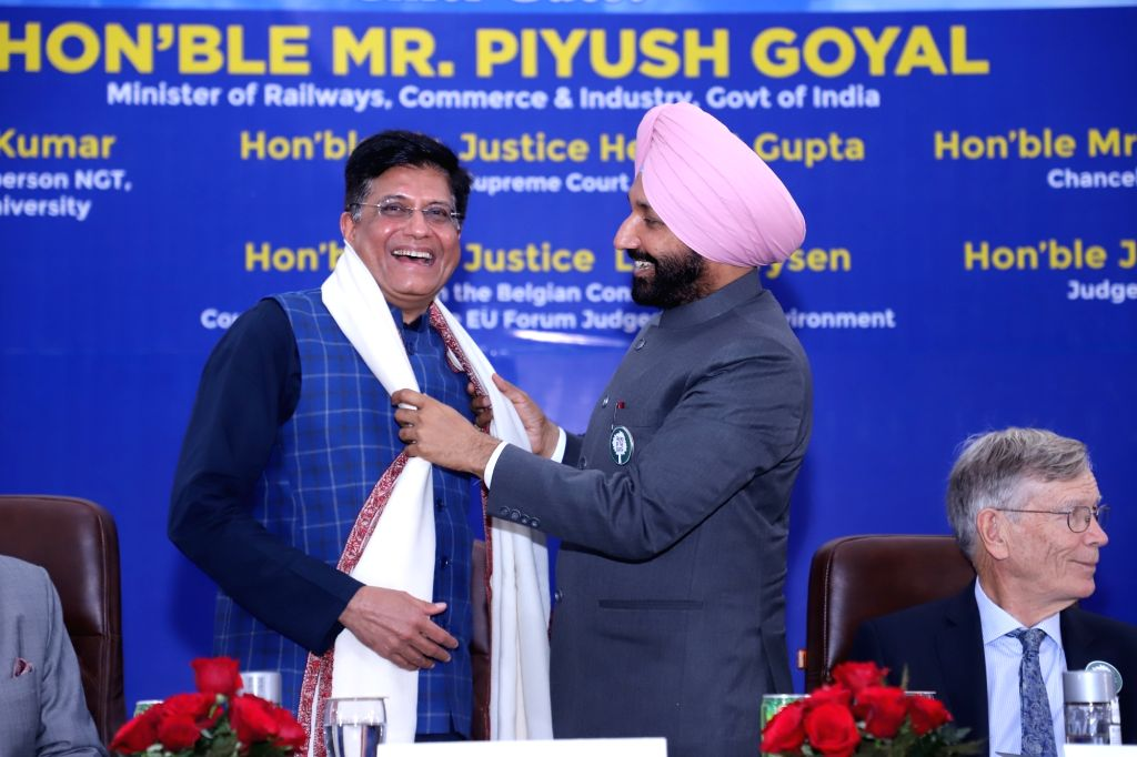 "Union Railways, Commerce and Industry Minister Piyush Goyal being welcomed at the inaugural session of the two-day Global Law Conference on ""Environmental Laws: Challenges and ... - Piyush Goyal"