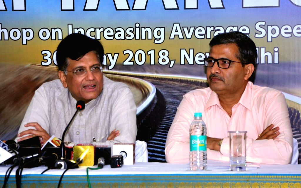 Union Railways Minister Piyush Goyal addresses a press conference on 'Mission Raftaar 2022' - a workshop of the Ministry of Railways, in New Delhi on May 30, 2018. Also seen Railway Board ... - Piyush Goyal