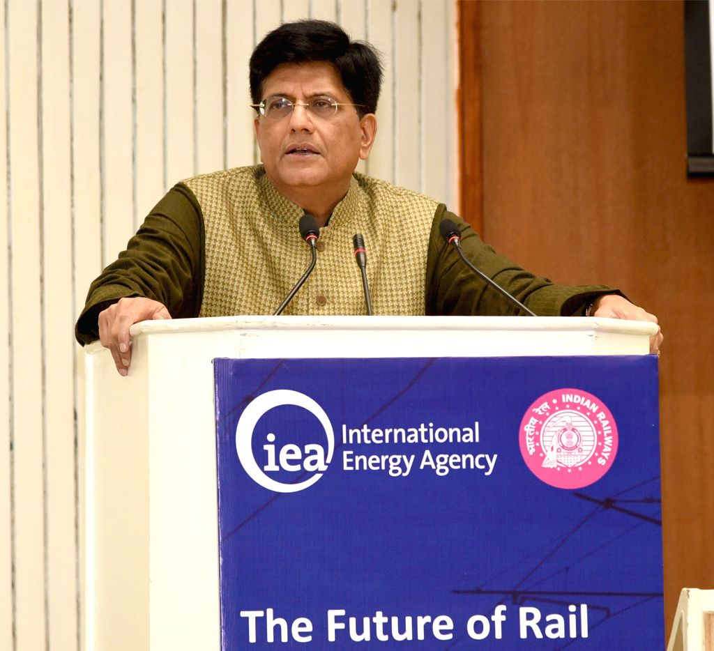 "Union Railways Minister Piyush Goyal addresses at the launch of International Energy Agency (IEA) Report ""The Future of Rail"" in New Delhi, on Jan 30, 2019. - Piyush Goyal"