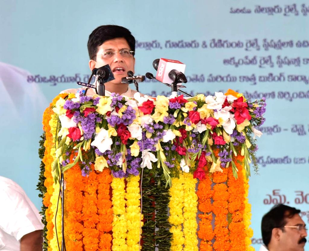 Union Railways Minister Piyush Goyal addresses at the inauguration and foundation stones laying ceremony of various railway projects, in Nellore, Andhra Pradesh, on Feb 21, 2019. - Piyush Goyal