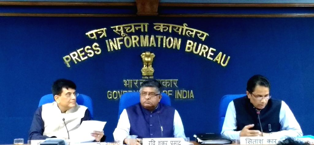 Union Railways Minister Piyush Goyal and Union Law and Justice and Electronics and Information Technology Minister Ravi Shankar Prasad during a press conference, in New Delhi on Aug 1, ... - Piyush Goyal