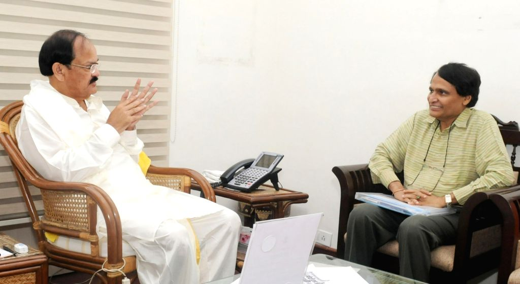 Union Railways Minister Suresh Prabhakar Prabhu calls on Vice President M. Venkaiah Naidu in New Delhi on Aug 18, 2017. - Suresh Prabhakar Prabhu and M. Venkaiah Naidu