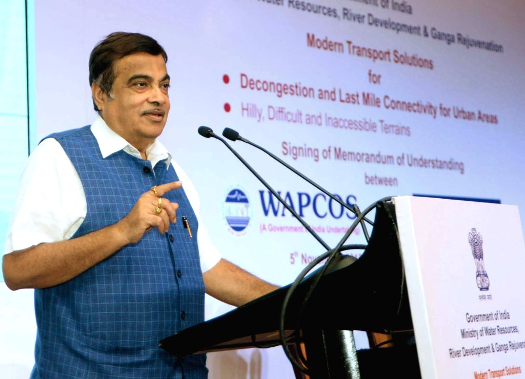 Union Road Transport and Highways Minister Nitin Gadkari addresses at the signing ceremony of an MoU between WAPCOS Limited and Doppelmayr, Austria for Modern Transport Solutions for ... - Nitin Gadkari