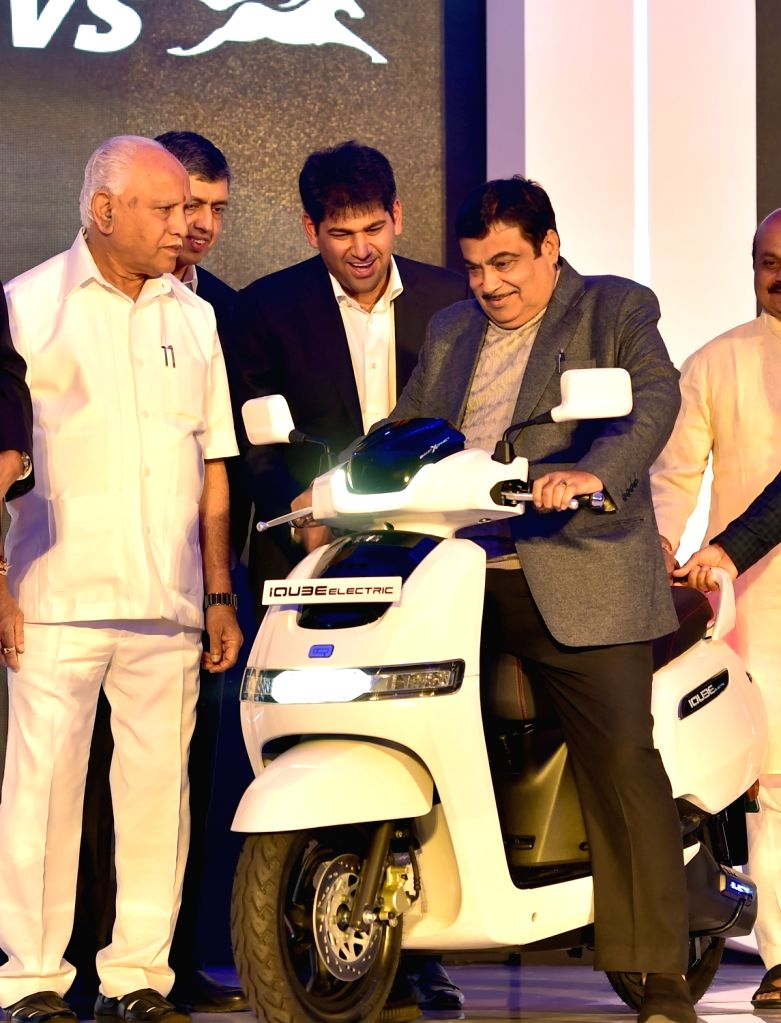 Union Road Transport and Highways Minister Nitin Gadkari and Karnataka Chief Minister BS Yediyurappa at the launch of the TVS iQube electric scooter, in Bengaluru on Jan 25, 2020. - Nitin Gadkari