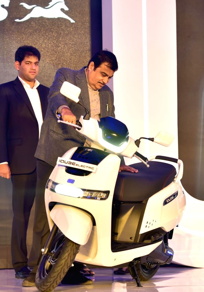 Union Road Transport and Highways Minister Nitin Gadkari at the launch of the TVS iQube electric scooter, in Bengaluru on Jan 25, 2020. - Nitin Gadkari