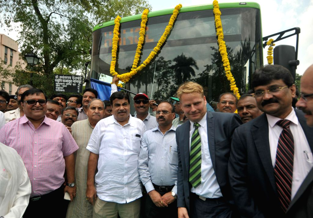 Union Road Transport, Highways and Shipping Minister Nitin Gadkari at the launch of ethanol-run bus to save fuel cost, in Nagpur on Aug 22, 2014.