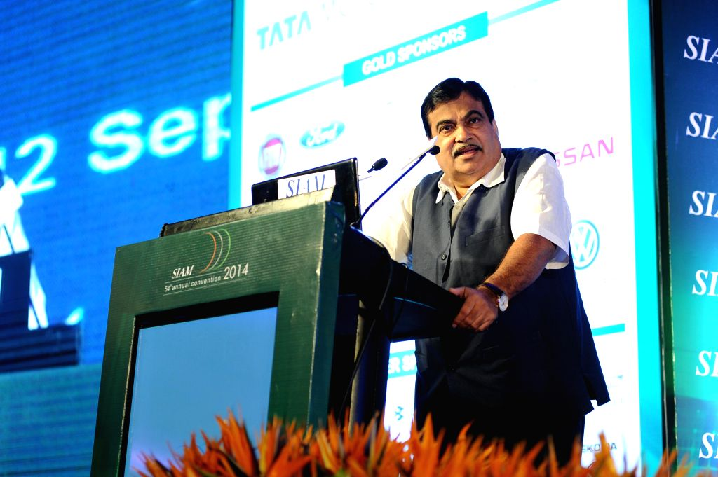 Union Road Transport, Highways and Shipping Minister Nitin Gadkari addresses at the 54th SIAM Annual Convention in New Delhi on Sept 12, 2014. - Nitin Gadkari