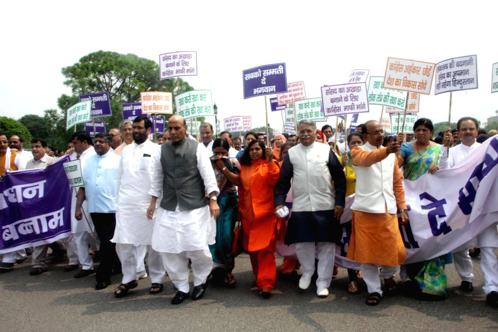 Union Road Transport, Highways and Shipping Minister Nitin Gadkari, Union Minister for Consumer Affairs, Food and Public Distribution Ramvilas Paswan and Union Home Minister Rajnath Singh, ... - Nitin Gadkari and Rajnath Singh