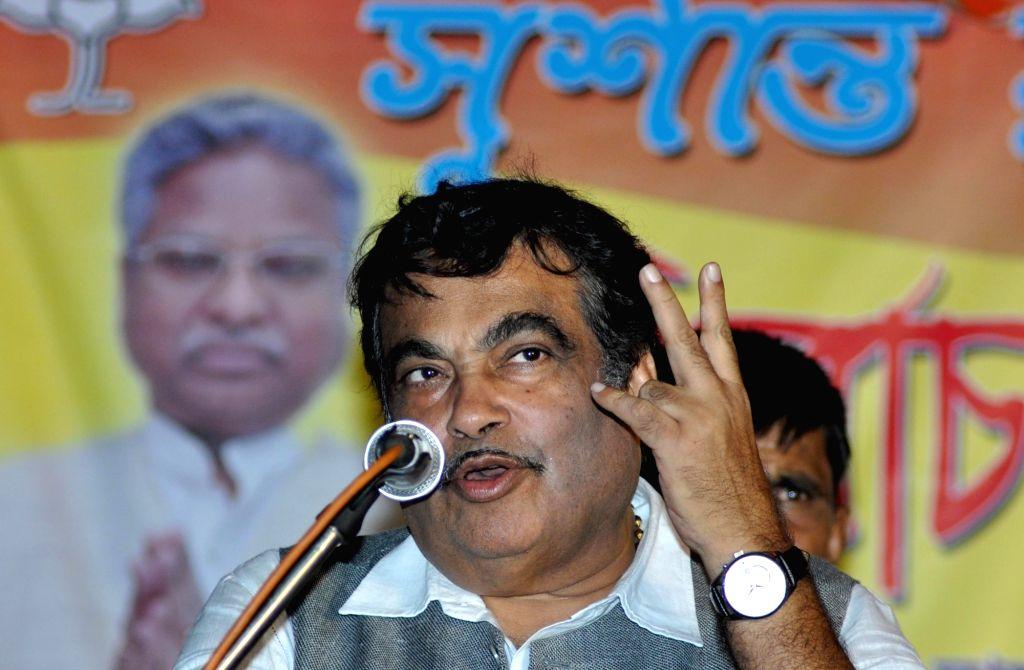 Union Road Transport, Highways and Shipping Minister Nitin Gadkari during a BJP rally in Kolkata, on April 20, 2016. - Nitin Gadkari