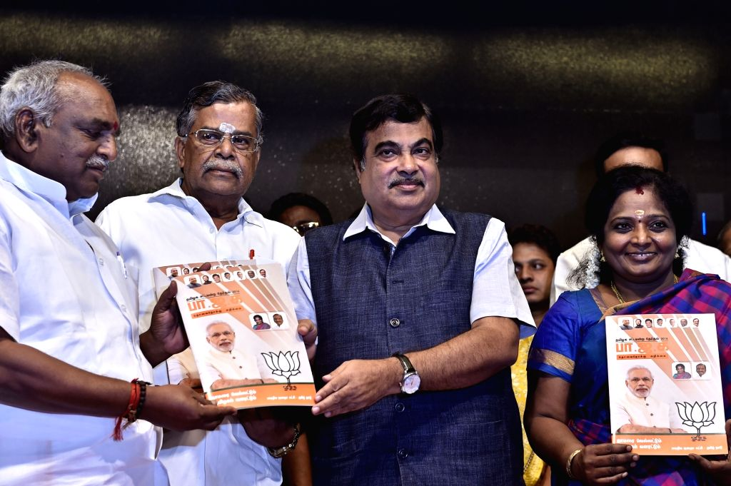 Union Road Transport, Highways and Shipping Minister Nitin Gadkari releases BJP manifesto for the upcoming Tamil Nadu legislative assembly elections in Chennai, on April 21, 2016. - Nitin Gadkari