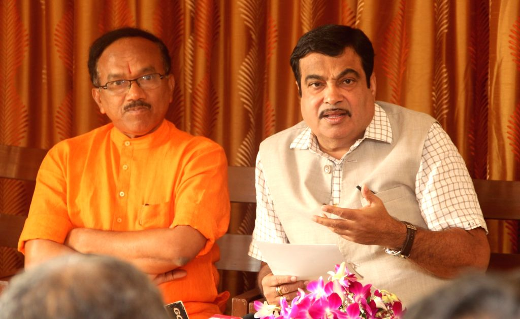 Union Road Transport, Highways and Shipping Minister Nitin Gadkari addresses a press conference regarding National Waterways plan in Panaji on June 4, 2016. Also seen Goa Chief Minister ... - Nitin Gadkari