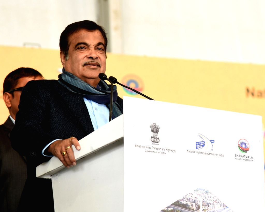 Union Road Transport Minister Nitin Gadkari addresses at the foundation stone laying ceremony of the 6 lane access controlled corridor of NH 709 B, in Delhi on Jan 26, 2019. - Nitin Gadkari