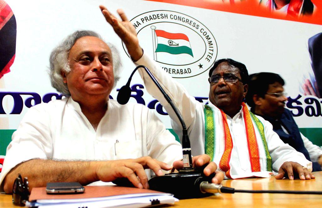 Union Rural Development minister Jairam Ramesh addressing media at Gandhi Bhavan in Hyderabad on April 12, 2014.