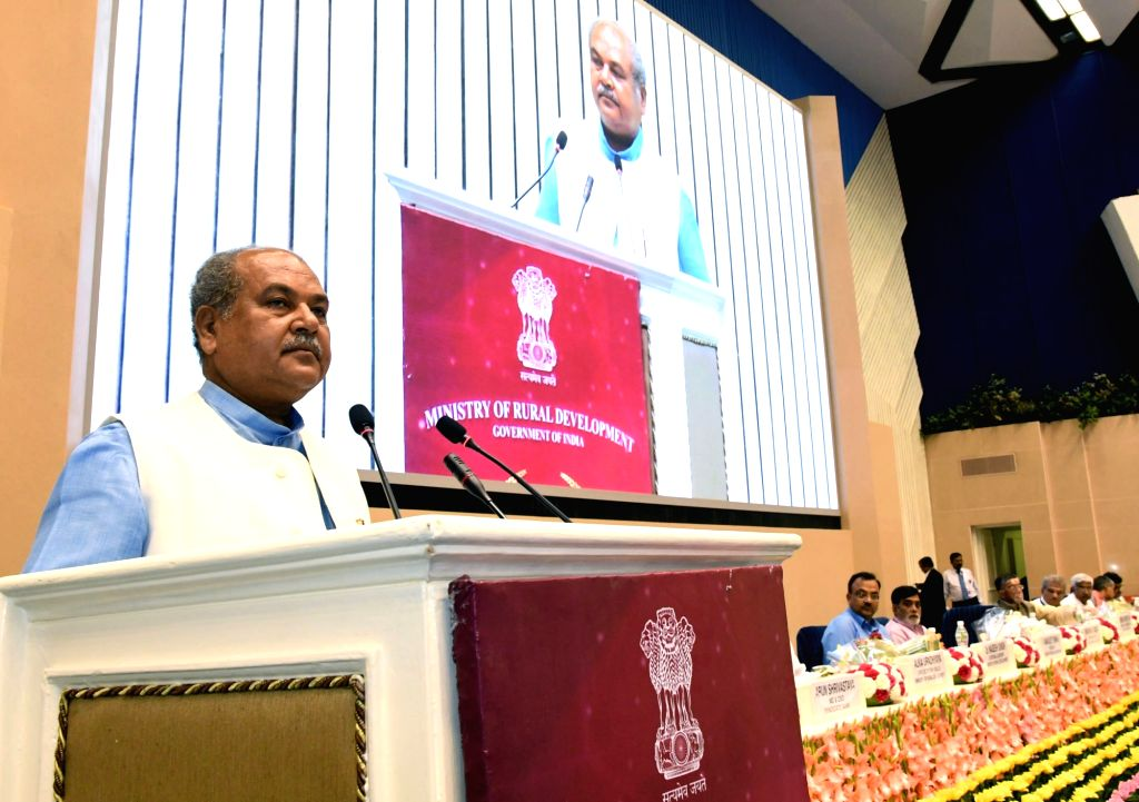 Union Rural Development Minister Narendra Singh Tomar addresses at the RSETI Diwas-2017 celebration, in New Delhi on June 7, 2017. - Narendra Singh Tomar