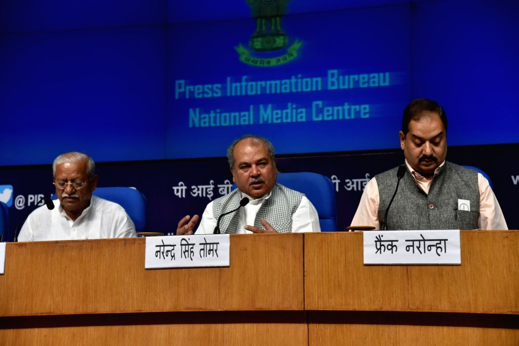 Union Rural Development Minister Narendra Singh Tomar addressing a press conference after launching the Swachh Sarvekshan (Gramin)- 2017, in New Delhi on Aug 8, 2017. - Narendra Singh Tomar