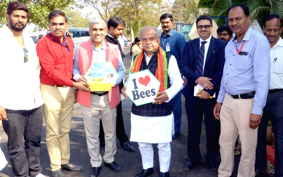 Union Rural Development, Panchayati Raj and Mines Minister Narendra Singh Tomar during his visit to the Honey bee keeping, at National Institute of Rural Development and Panchayat Raj ... - Narendra Singh Tomar