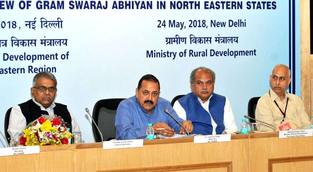Union Rural Development, Panchayati Raj and Mines Minister Narendra Singh Tomar, Union MoS Development of North Eastern Region Jitendra Singh and Cabinet Secretary P.K. Sinha at the ... - Narendra Singh Tomar and K. Sinha