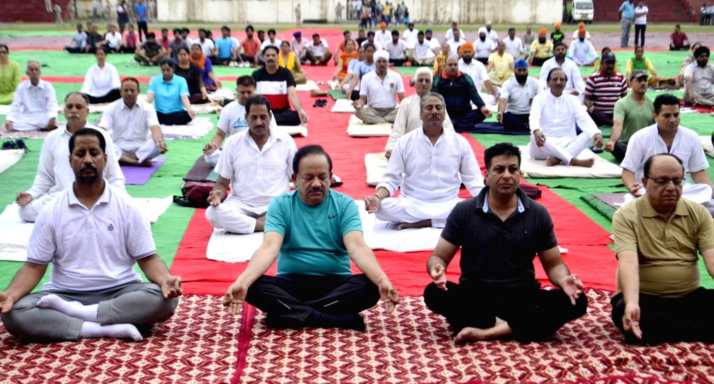 Union Science and Technology Minister Dr Harsh Vardhan practice Yoga Asans -postures- on International Yoga Day in Amritsar on June 21, 2017. - D