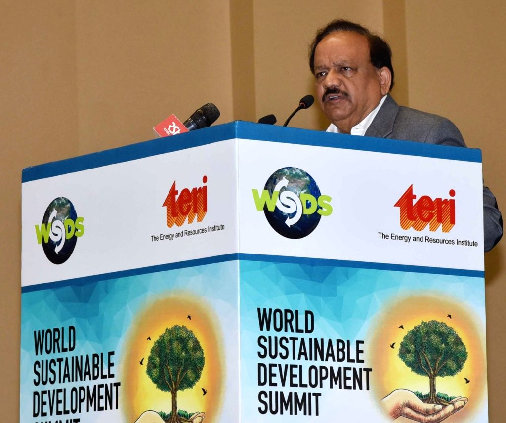 Union Science and Technology Minister Dr. Harsh Vardhan addresses at the inaugural session of the World Sustainable Development Summit 2019, organised by The Energy and Resources Institute ... - D