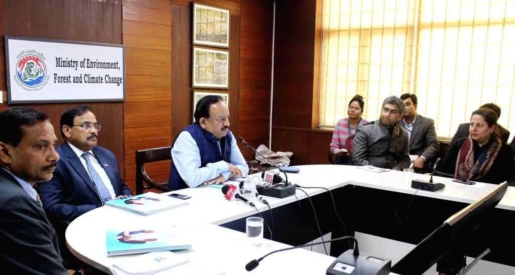 "Union Science and Technology Minister Dr. Harsh Vardhan addresses at the release of a publication on climate actions in India titled ""India - Spearheading Climate Solutions"", in New ... - D"