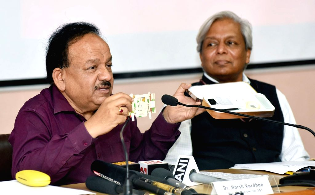 """Union Science and Technology Minister Harsh Vardhan addresses a press conference on """"Bio-technology Interventions: Impacting North East"""" in New Delhi on Sept 20, 2017. Also seen ... - Harsh Vardhan"""