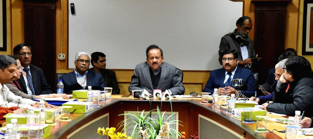 Union Science and Technology Minister Harsh Vardhan along with Department of Science and Technology Secretary Ashutosh Sharma and CSIR DG Girish Sahni, addresses a press conference on the ... - Harsh Vardhan and Secretary Ashutosh Sharma