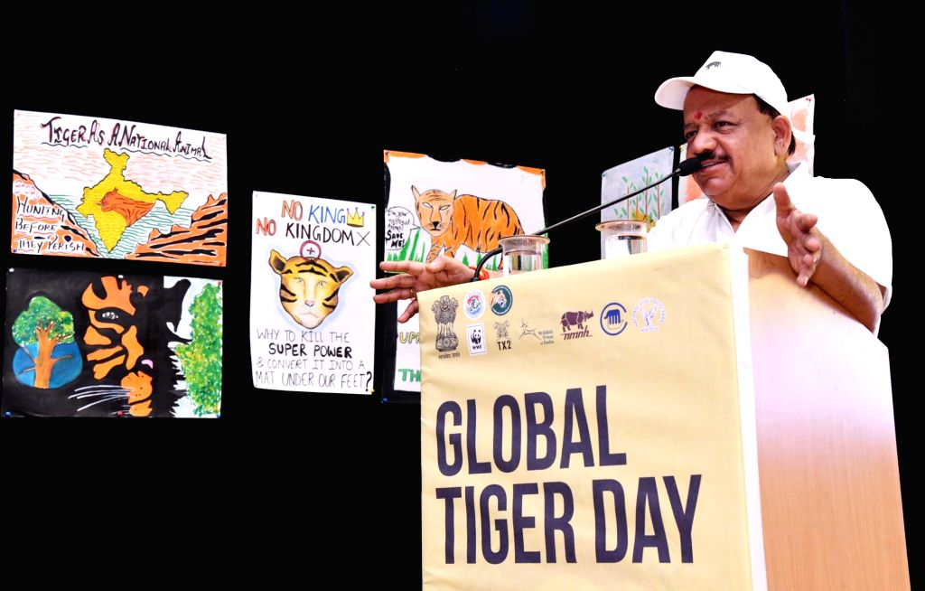 Union Science and Technology Minister Harsh Vardhan addresses at the Global Tiger Day celebrations, in New Delhi, on July 27, 2018. - Harsh Vardhan