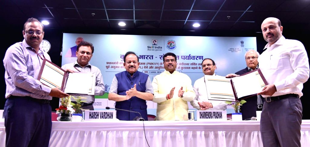 Union Science and Technology Minister Harsh Vardhan, Union Skill Development and Entrepreneurship Minister Dharmendra Pradhan and Ministry of Environment, Forest and Climate Change ... - Harsh Vardhan and K. Mishra